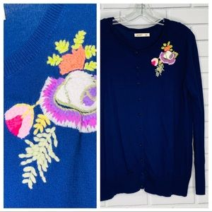 cardigan w embroidered flowers Old Navy XXL blue